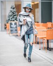sweater,tumblr,grey sweater,top,grey top,scarf,denim,jeans,blue jeans,ripped jeans,boots,black boots,ankle boots,hat,grey hair,felt hat,sunglasses,mirrored sunglasses,aviator sunglasses,coffee