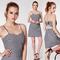 Alisa pan women's black-white plaid backless square neck cute mini dress 05992