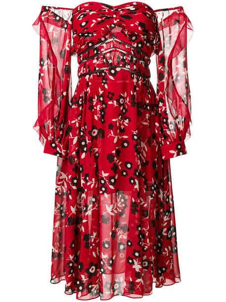 self-portrait dress women floral print red