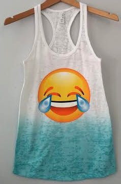 Burnout Ombre Racerback Tank Laughing To Tears Emoji - T-Shirts & Tank Tops