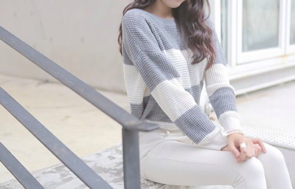 stripes white sweater white jeans light blue cozy winter sweater christmas