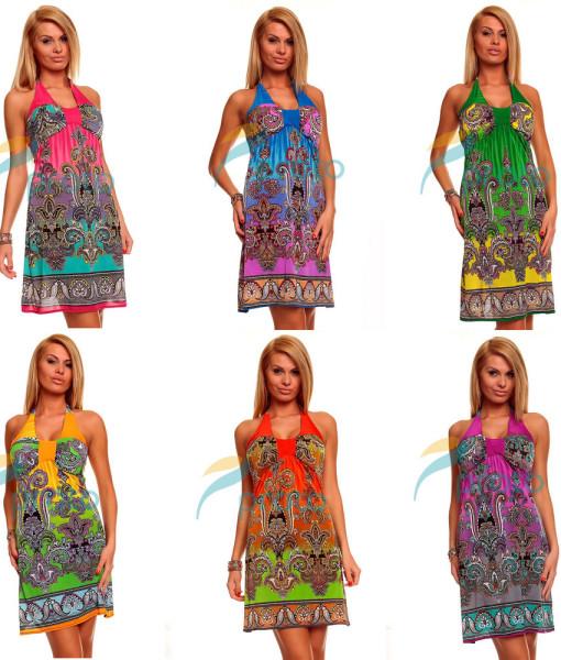 M XXL Plus Size 6 Colors Freeshipping 2014 New Fashion Women Halter Bohemian Printed Dress Beach Dress Summer Casual Dress 4144 | Amazing Shoes UK