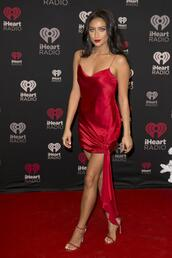 dress,red dress,red,sandals,shay mitchell