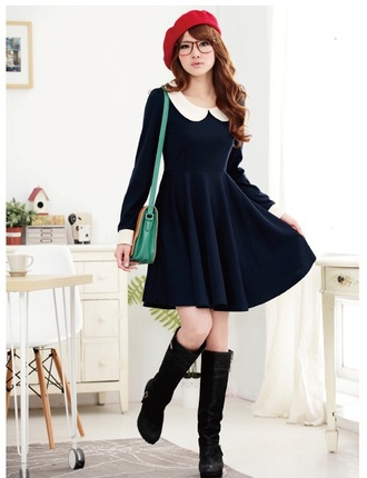 dress blue dress peter pan collar dress