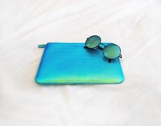 bag clutch blue green