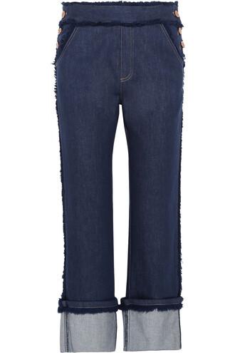 jeans cropped high denim dark