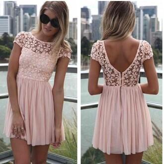 dress floral low back dress fit and flare dress pink floral dress