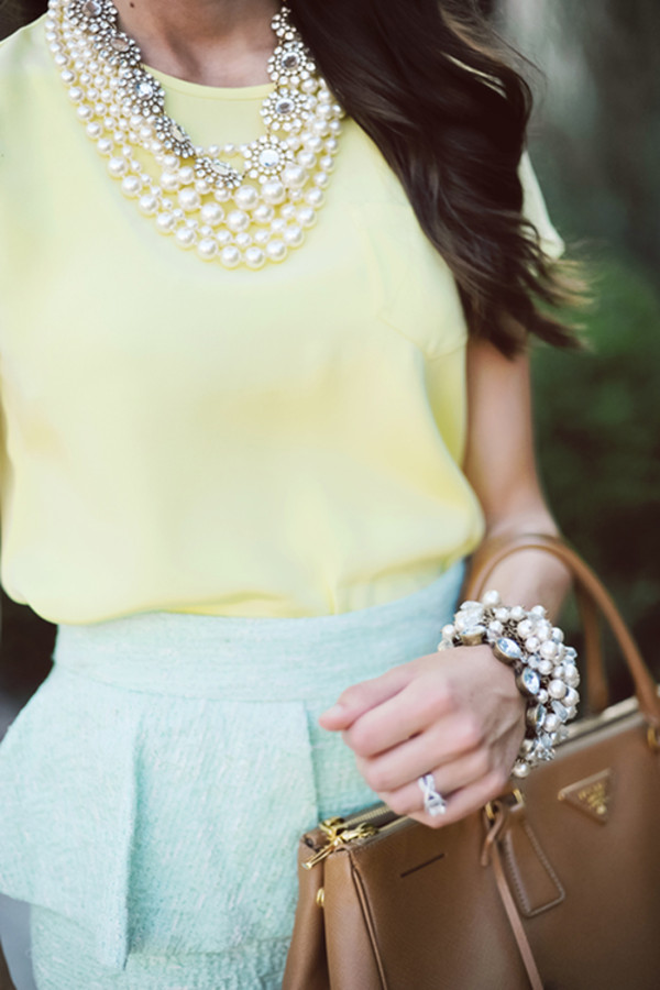 shirt pastel blue prep preppy classy yellow peplum jewels skirt statement necklace perle