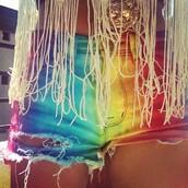 shorts,multicolor,tie dye,rainbow,summer shorts,diy,fringes