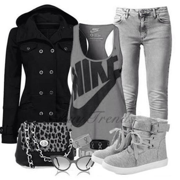 grey boots shoes bag coat