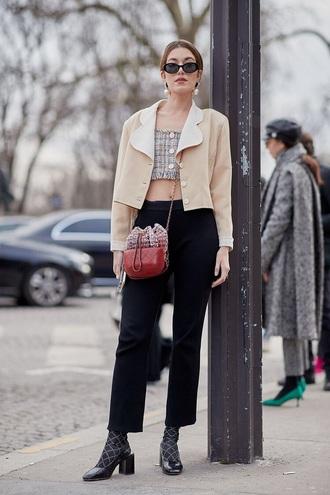top plaid jacket nude jacket pants black pants shoes crop cropped crop tops socks bucket bag