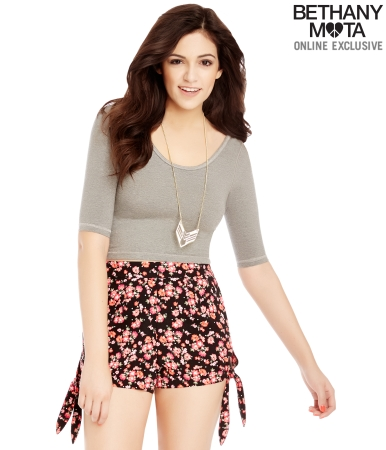 Floral High-Waisted Side-Tie Shorts -