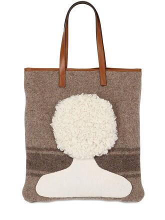 short hair short hair wool brown bag