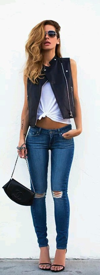 jeans ripped jeans leather vest black heels