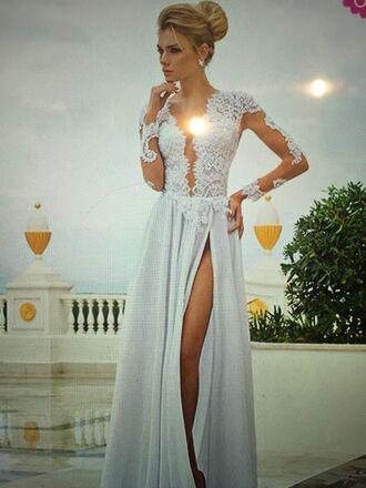 dress long white dress with lace topp white dress lace dress long dress prom dress wedding dress long sleeves leg slit lace sleeves floor length dress
