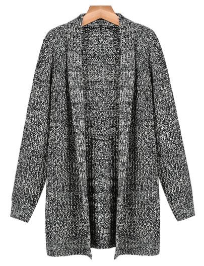 Grey Long Sleeve Cardigan Sweater - Sheinside.com