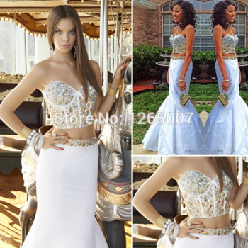 2014 new arrival two pieces sweetheart golden rhinestones beaded crystal mermaid prom dress fashion gowns sparkling dress