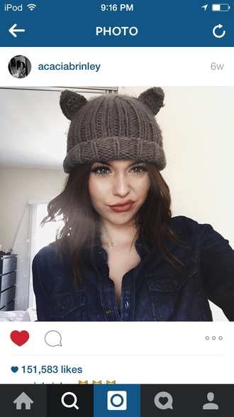 hat beanie grunge cute acacia brinley cat ears gray beanie