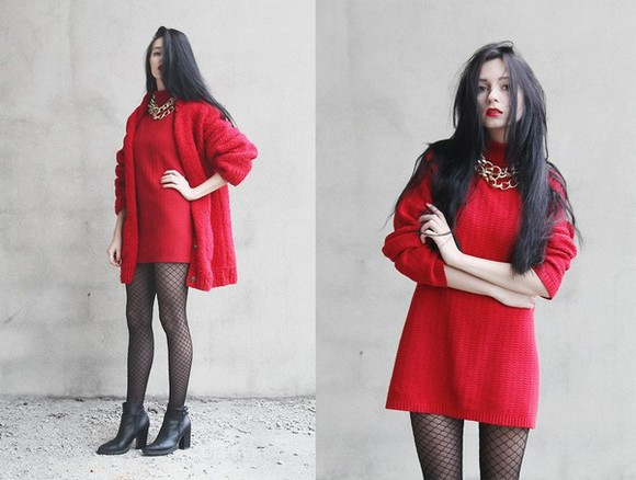 dress red lips coat red red dress red little dress red coat fuffly coat all red cute vintange love it where did u get that must have soft grunge dress must haves soft grunge boots