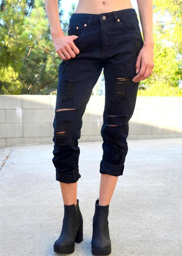 Jeans: denim, black, black denim, black jeans, ripped jeans ...
