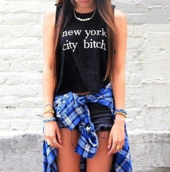 shirt skirt shorts new york city t-shirt black new york city bitch german shop blouse flannel checkered collar buttons