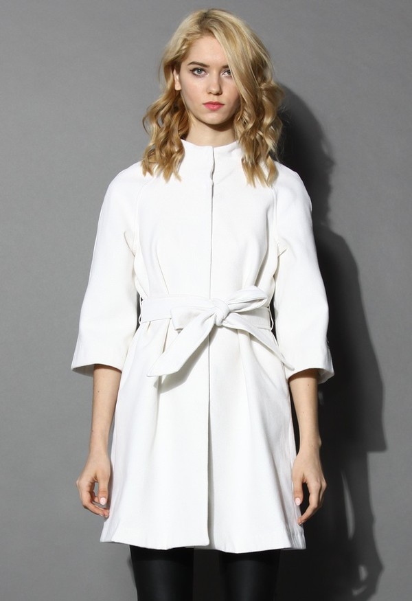 chicwish mid-sleeves white coat coat