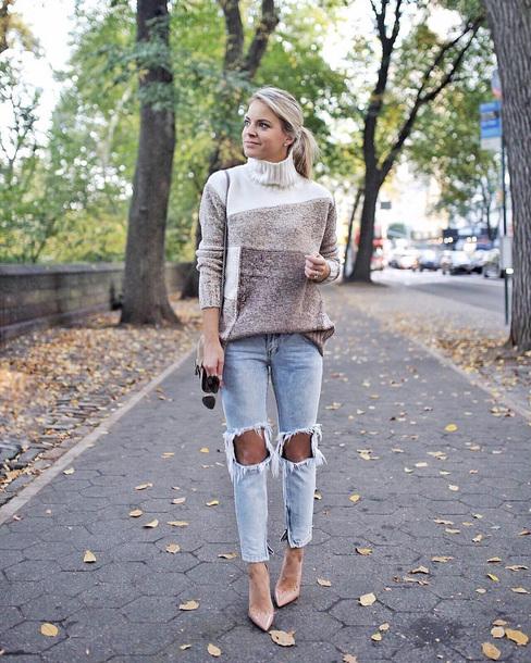 sweater tumblr turtleneck turtleneck sweater knitwear knitted sweater knit denim jeans blue jeans ripped jeans pumps