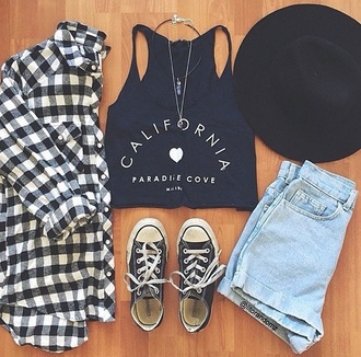 top black shirt black and white crop tops flannel shirt shorts shirt cali california love crop girl girly hipster trendy boho style hat jacket home accessory tank top