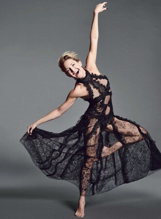 dress prom dress gown see through see through dress black dress lace dress kate hudson editorial ballet