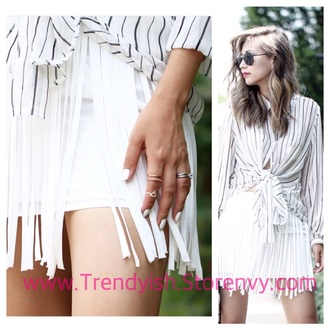skirt white fringes fringe skirt so trendyish white skirt fashion mini skirt