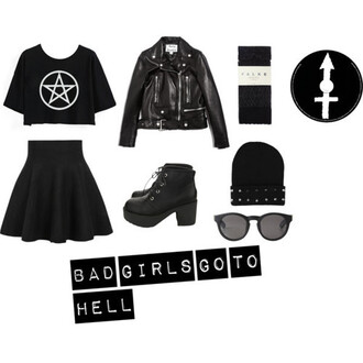 shirt grunge black dark pentagram rock goth skirt