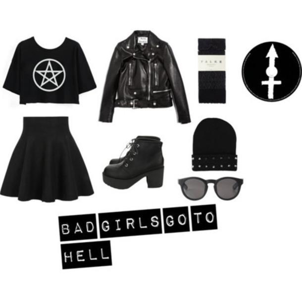 shirt grunge black dark pentagram rock goth skirt