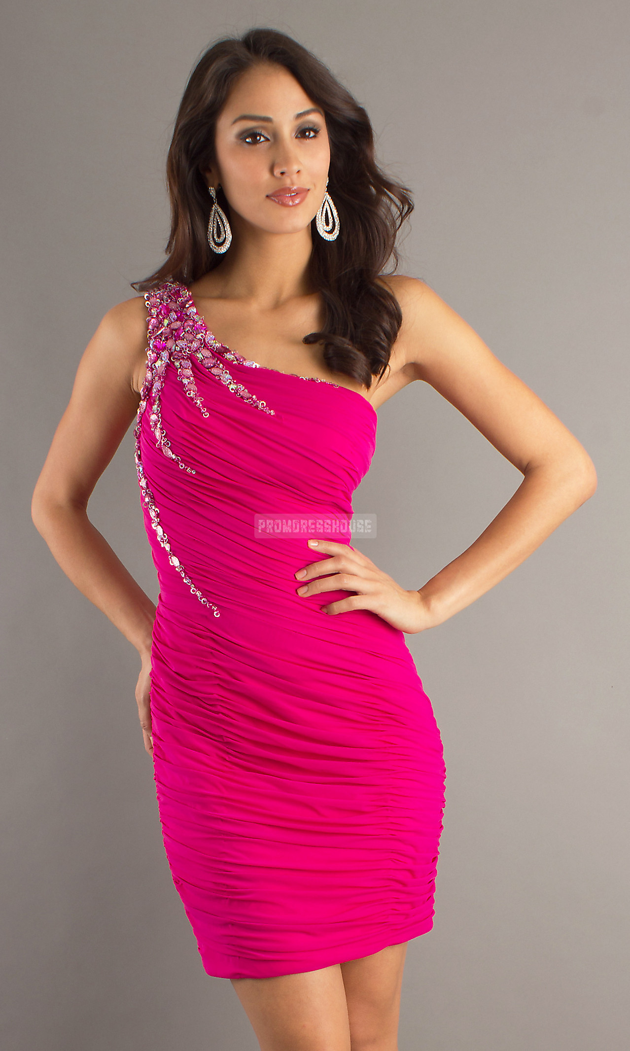Sleeveless Sheath One Shoulder Fuchsia Chiffon Cocktail Dress - Promdresshouse.com