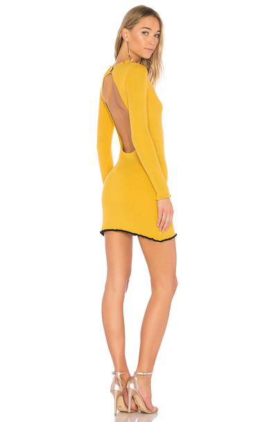 For Love & Lemons dress mini dress mini ruffle mustard