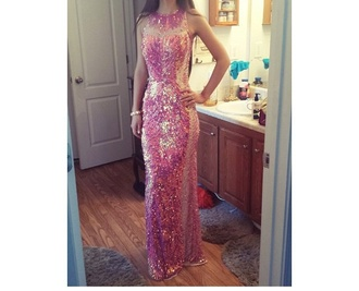dress pink dress sparly long prom dress