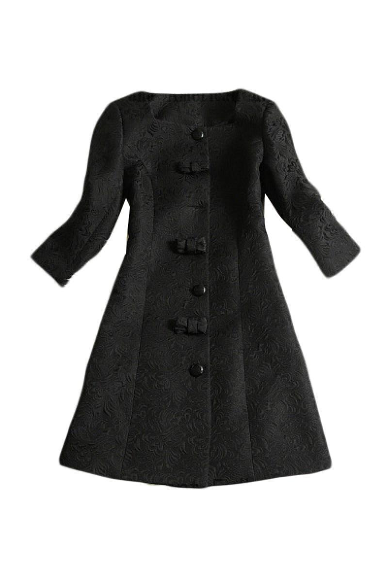 Western Ladies Bowknots Jacquard Cotton Windbreaker,Cheap in Wendybox.com