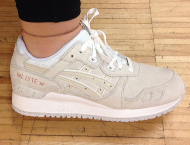 shoes, asics, beige, white, asics gel lyte iii Wheretoget