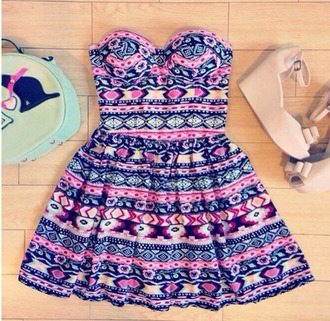 dress adorable dress girl dress girly dress pink dress color dress colored dress aztec dress aztec floral blue dress pink outfit gorgeous dress patterned dress colorful dress belt colorful nice beautiful fashion style girly