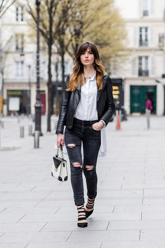 la georgienne blogger jewels jacket shoes black jeans ripped jeans leather jacket white blouse black heels