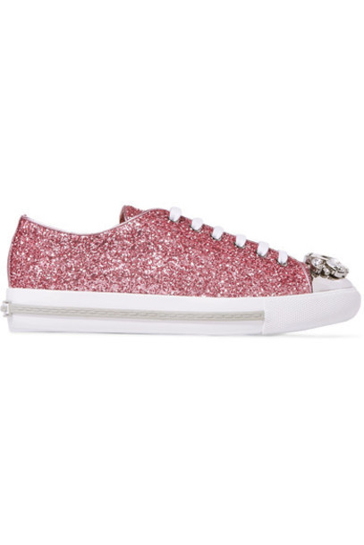 Miu Miu embellished sneakers leather pink shoes