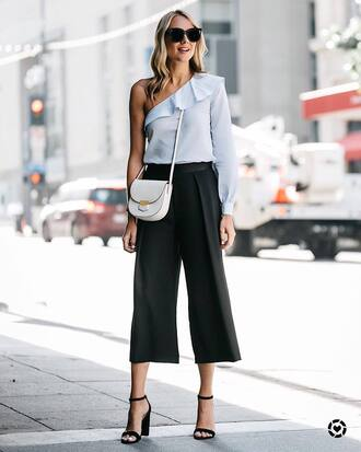 top ruffled top tumblr one shoulder blue top ruffle pants culottes black culottes sandals sandal heels high heel sandals bag white bag sunglasses shoes