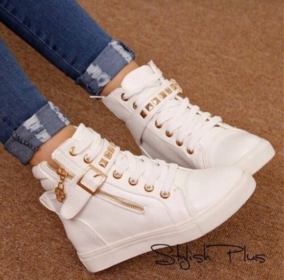 shoes sneakers high top sneaker style soikes spikes gold