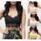 Women spaghetti straps zip back crop lace top