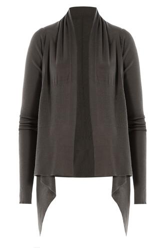 cardigan draped wool grey sweater