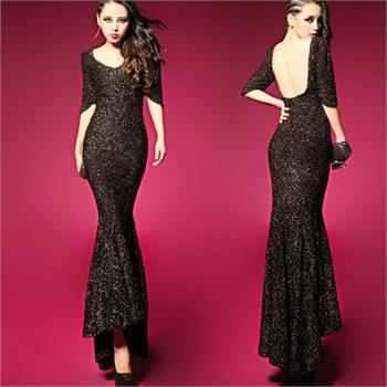 Womens Fishtail Maxi Sequin Cocktail Ball Gown Party Evening Backless Long Dress | eBay