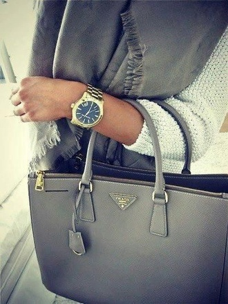 jewels watch grey bag charcoal prada