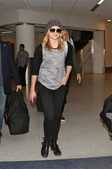 leggings shoes bag shirt chloe moretz hat sunglasses
