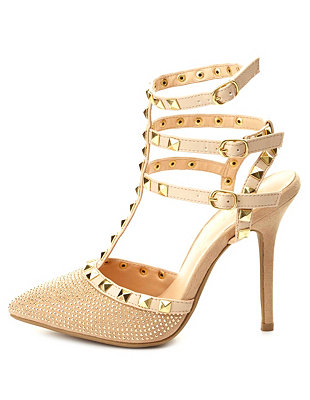 Studded rhinestone strappy pumps: charlotte russe