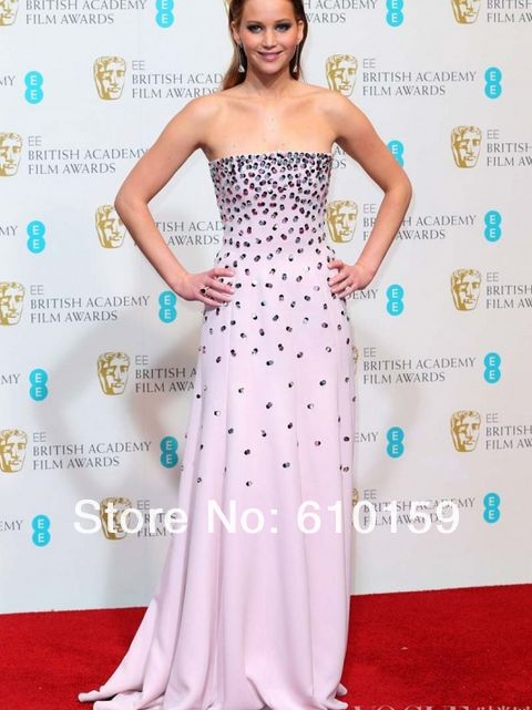 Jennifer Lawrence   pink Tube Top evening dress  2013-in Celebrity-Inspired Dresses from Apparel & Accessories on Aliexpress.com