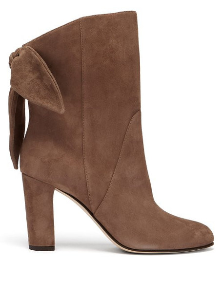 Jimmy Choo - Marlene 85 Suede Ankle Boots - Womens - Light Brown